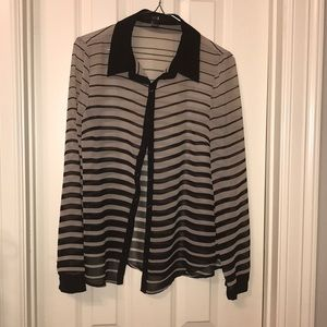 Forever 21 Sheer Striped Blouse Size S